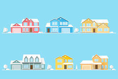Neighborhood with homes illustrated on blue. Stock Photo