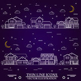 Neighborhood with homes illustrated on purple background. Vector thin line icon suburban american houses night. For web design and application interface, also Stock Photo