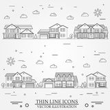 Neighborhood with homes illustrated. Vector thin line icon suburban american houses. For web design and application. Neighborhood with homes illustrated on white royalty free illustration