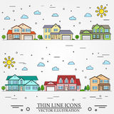 Neighborhood with homes illustrated on white background. Stock Image