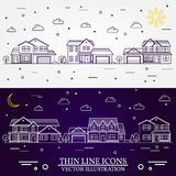 Neighborhood with homes illustrated white and purple background. Neighborhood with homes illustrated on white and purple background. Vector thin line icon Royalty Free Stock Photography