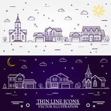Neighborhood with homes illustrated white and purple background. Neighborhood with homes illustrated on white and purple background. Vector thin line icon Royalty Free Stock Images