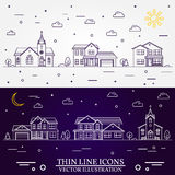 Neighborhood with homes illustrated white and purple background. Neighborhood with homes illustrated on white and purple background. Vector thin line icon Royalty Free Stock Image