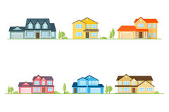 Neighborhood with homes illustrated on white. Vector flat icon suburban american houses. For web design and application interface, also useful for infographics stock illustration