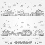 Neighborhood with homes illustrated on white. Stock Photo