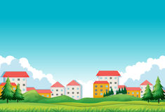 Neighborhood with houses and park Royalty Free Stock Photography
