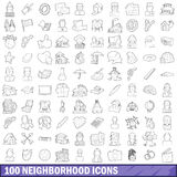 100 neighborhood icons set, outline style Stock Photos