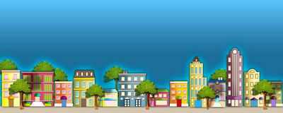 Neighborhood illustration. A colorful illustration of a quaint street scene with apartment houses & beautiful trees royalty free illustration