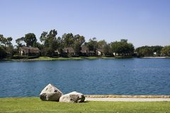 Neighborhood Lake. Lakefront homes in southern california Stock Images