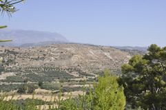 Neighborhood landscape of Festos Arcaelogical Site from Crete island royalty free stock image