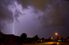 Neighborhood lightning strike. Lightning and thunder in Central Florida stock photos