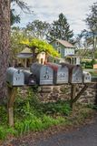 Neighborhood Mailboxes stock photos