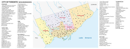 Neighborhood map of the Canadian city of Toronto Royalty Free Stock Images