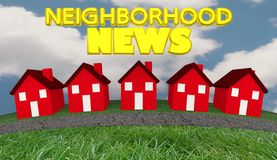 Neighborhood News Houses Community Information Update. 3d Illustration Royalty Free Stock Images