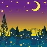 Neighborhood at night time Stock Image