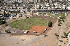 Neighborhood Park with ballfield Stock Images