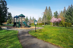 Neighborhood park and playground Stock Photo