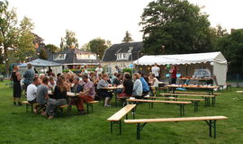Neighborhood party. Groningen. August-12-2015. People have lots of fun at a neighborhood party Stock Images