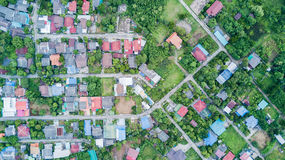 Neighborhood with residential houses and driveways. Aerial photo from drone: neighborhood with residential houses and driveways, land use planning concept royalty free stock images