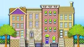Neighborhood Row Houses Royalty Free Stock Photo