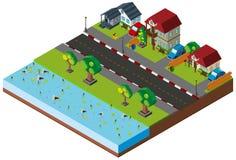 Neighborhood scene in 3D design Royalty Free Stock Image