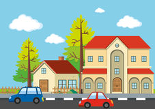 Neighborhood scene with houses and cars Stock Images