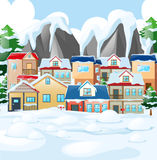 Neighborhood scene with houses covered by snow Royalty Free Stock Photos
