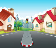 Neighborhood scene with houses and road Royalty Free Stock Photography