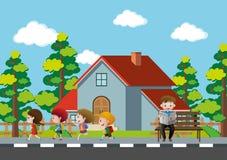 Neighborhood scene with kids running on pavement Royalty Free Stock Photo