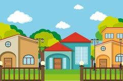 Neighborhood scene with many houses Royalty Free Stock Photos