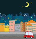 Neighborhood scene at night Stock Images