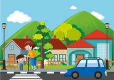 Neighborhood scene with people crossing road Stock Images