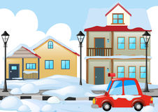 Neighborhood scene with snow on the ground Royalty Free Stock Images