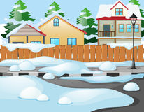 Neighborhood scene in winter time Royalty Free Stock Image