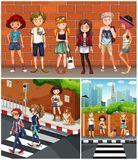 Neighborhood scenes with teenagers. Illustration Royalty Free Stock Photo