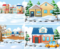 Neighborhood scnes with houses in winter Royalty Free Stock Photo