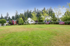 Neighborhood in Seattle during summer time. Outdoor rest area wi Stock Images