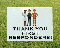 Free Neighborhood Sign Thanking First Responders During The Cornavirus Epidemic In May 2020. Royalty Free Stock Image - 181578776