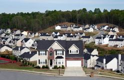 Neighborhood or subdivision. Overlooking a neighborhood/subdivision of midsize homes royalty free stock photos