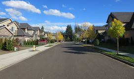 Neighborhood in Vancouver Washington. View of residential area on a sunny day stock image