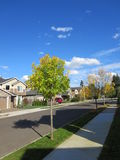 Neighborhood in Vancouver Washington. View of residential area on a sunny day royalty free stock photo