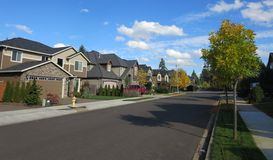 Neighborhood in Vancouver Washington. View of residential area on a sunny day royalty free stock images
