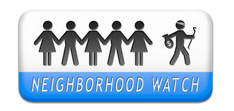 Neighborhood watch. Neighborhood guard or crime watch stopping thief, thieves alert and protection of anti theft prevention royalty free illustration