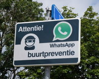 Neighborhood watch via Whatsapp sign in the Netherlands Stock Images