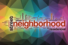Neighborhood word cloud with abstract background Stock Photos