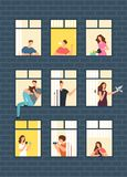 Neighbors cartoon people in apartment house windows. Neighborhood vector concept. Building with window and man, woman illustration Stock Images