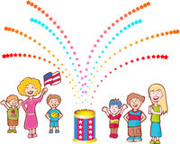 Neighbors Celebrate. Mom and children celebrate Independence Day Stock Photography