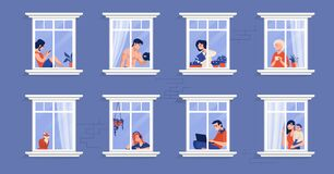 Free Neighbors In Apartment. People In Windows Drinking Tea, Watching TV, Pet Cat And Spending Time At Home. Vector Cartoon Royalty Free Stock Photography - 177941607