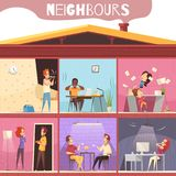Neighbors Irritation Illustration. Neighbors living in multistoried city house and irritated because of noise and quarrel cartoon vector illustration Stock Image