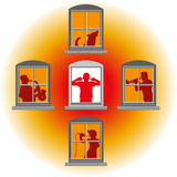 Neighbors Loud Music Noise. Neighbors that make loud music, in the middle window an annoyed man covers his ears. Isolated vector illustration on white background Royalty Free Stock Image